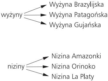 Ameryka Południowa. Wyżyny: Wyżyna Brazylijska, Wyżyna Patagońska, Wyżyna Gujańska. Niziny: Nizina Amazonki, Nizina Orinoko, Nizina La Platy.