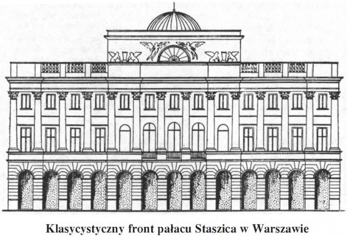 Klasycystyczny front pałacu Staszica w Warszawie