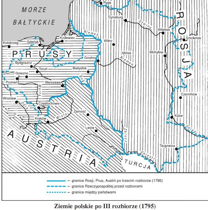 Ziemie polskie po III rozbiorze (1795)