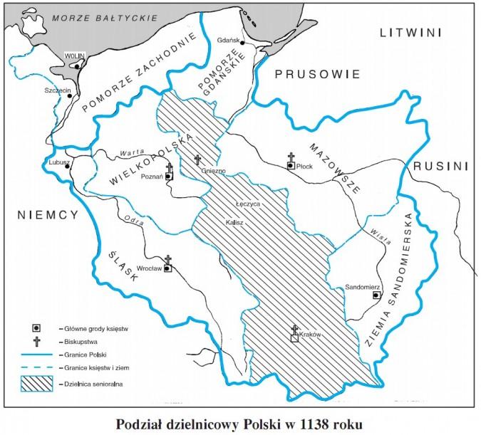 Podział dzielnicowy Polski w 1138 roku