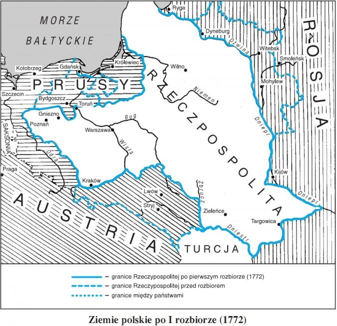 Ziemie polskie po I rozbiorze (1772)
