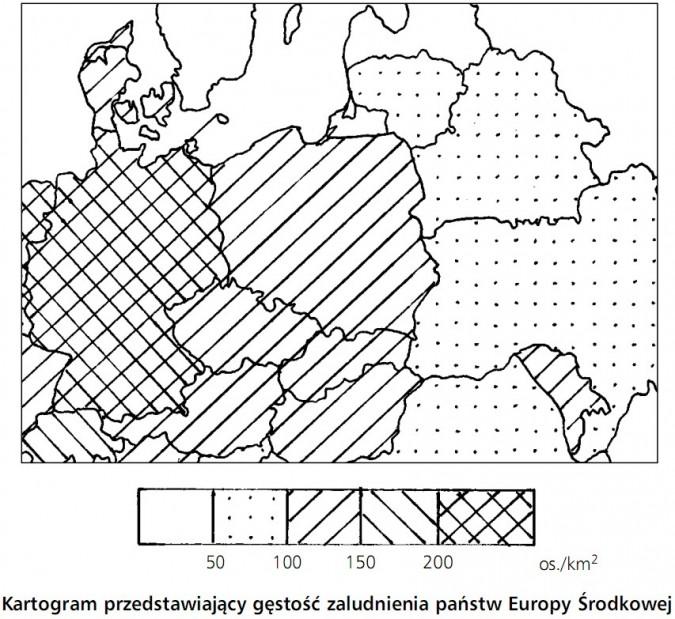 Kartogram przedstawiający gęstość zaludnienia państw Europy Środkowej.