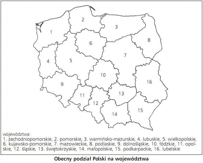 Mapa Polski Podział na Województwa Obecny Podział Polski na