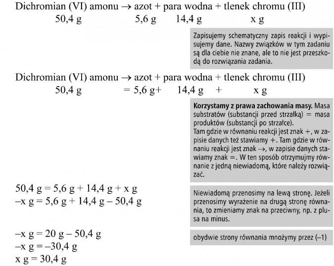 Prawo zachowania masy. Dichromian (VI) amonu, azot, para wodna, tlenek chromu. Zapisujemy schematyczny zapis reakcji i wypisujemy dane. Nazwy związków w tym zadaniu są dla ciebie nie znane, ale to nie jest przeszkodą do rozwiązania zadania. Korzystamy z prawa zachowania masy. Masa substratów (substancji przed strzałką) = masa produktów (substancji po strzałce). Tam gdzie w równaniu reakcji jest znak +, w zapisie danych też stawiamy +. Tam gdzie w równaniu reakcji jest znak..., w zapisie danych stawiamy znak =. W ten sposób otrzymujmy równanie z jedną niewiadomą, które należy rozwiązać. Niewiadomą przenosimy na lewą stronę. Jeżeli przenosimy wyrażenie na drugą stronę równania, to zmieniamy znak na przeciwny, np. z plusa na minus. Obydwie strony równania mnożymy przez (-1).