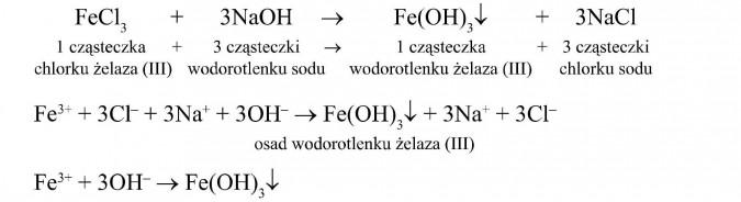 1 cząsteczka chlorku żelaza (III) + 3 cząsteczki wodorotlenku sodu = 1 cząsteczka wodorotlenku żelaza (III) + 3 cząsteczki chlorku sodu. Osad wodorotlenku żelaza (III).