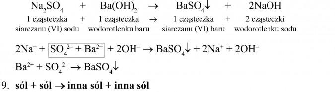 1 cząsteczka siarczanu (VI) sodu + 1 cząsteczka wodorotlenku baru = 1 cząsteczka siarczanu (VI) baru + 2 cząsteczki wodorotlenku sodu. sól + sól = inna sól + inna sól.