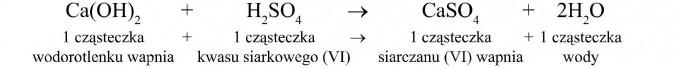 1 cząsteczka wodorotlenku wapnia + 1 cząsteczka kwasu siarkowego (VI) = 1 cząsteczka siarczanu (VI) wapnia + 1 cząsteczka wody.