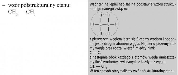 Wzór półstrukturalny etanu. Wzór ten najlepiej napisać na podstawie wzoru strukturalnego danego związku... Z pierwszym węglem łączą się 3 atomy wodoru i podobnie jest z drugim atomem węgla. Najpierw piszemy atomy węgla oraz rodzaj wiązań między nimi... a następnie obok każdego z atomów węgla umieszczamy ilość wodorów, związanych z każdym z węgli. W ten sposób otrzymaliśmy wzór półstrukturalny etanu.