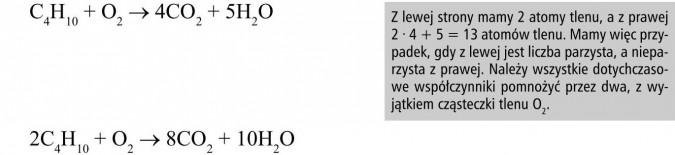 Przykłady reakcji spalania niektórych alkanów. Z lewej strony mamy 2 atomy tlenu, a z prawej 2 x 4 + 5 = 13 atomów tlenu. Mamy więc przypadek, gdy z lewej jest liczba parzysta, a nieparzysta z prawej. Należy wszystkie dotychczasowe współczynniki pomnożyć przez dwa, z wyjątkiem cząsteczki tlenu O2.