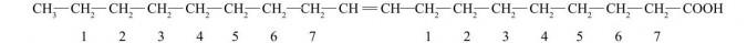Wyższe kwasy karboksylowe (kwasy tłuszczowe). Kwas oleinowy - wzór półstrukturalny.