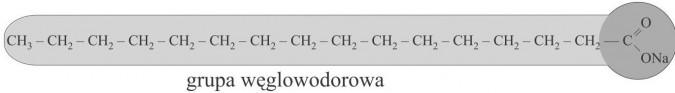 Mydła. Budowa cząsteczki mydła (ogonek - główka). Grupa węglowodorowa.