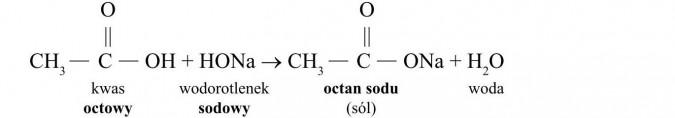 Estry. Kwas octowy, wodorotlenek sodowy, octan sodu (sól), woda.