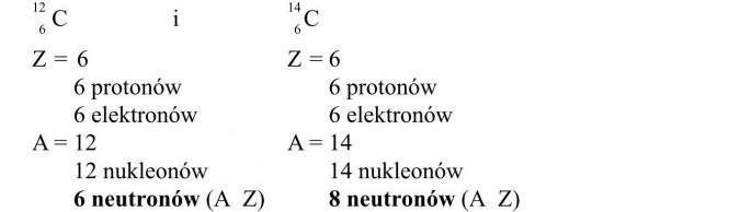 Izotopy. 6 protonów, 6 elektronów, 12 nukleonów, 6 neutronów.