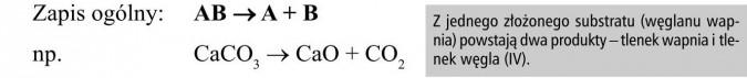 Z jednego złożonego substratu (węglanu wapnia) powstają dwa produkty - tlenek wapnia i tlenek węgla (IV).