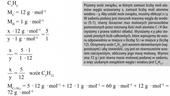 Piszemy wzór związku, w którym zamiast liczby moli atomów węgla wstawiamy x, zamiast liczby moli atomów wodoru - y. Aby ustalić wzór związku, musimy obliczyć x i y. W zadaniu podany jest stosunek masowy węgla do wodoru (5:1), równy ilorazowi mas molowych pierwiastków pomnożonych przez nieznaną ilość moli atomów C i H (korzystamy z prawa stałości składu). Wyrażamy x:y jako stosunek prostych liczb całkowitych, które wpisujemy do wzoru odpowiednio w miejsce x (liczbę 5) i w miejsce y (liczbę 12). Otrzymany wzór C5H12 jest wzorem elementarnym (najprostszym) i aby stwierdzić, czy jest on równocześnie wzorem rzeczywistym, obliczamy jego masę molową. Wynosi ona 72 g i jest równa masie molowej podanej w zadaniu,a więc szukanym związkiem węgla i wodoru jest C5H12.