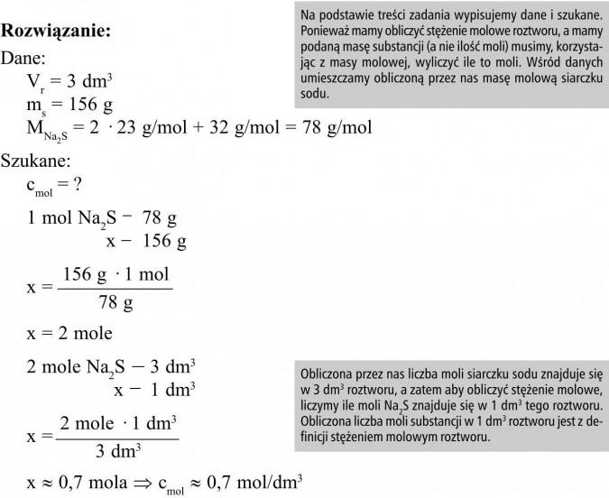 Na podstawie treści zadania wypisujemy dane i szukane. Ponieważ mamy obliczyć stężenie molowe roztworu, a mamy podaną masę substancji (a nie ilość moli) musimy, korzystając z masy molowej, wyliczyć ile to moli. Wśród danych umieszczamy obliczoną przez nas masę molową siarczku sodu. Obliczona przez nas liczba moli siarczku sodu znajduje się w 3 dm3 roztworu, a zatem aby obliczyć stężenie molowe, liczymy ile moli Na2S znajduje się w 1 dm3 tego roztworu. Obliczona liczba moli substancji w 1 dm3 roztworu jest z definicji stężeniem molowym roztworu.
