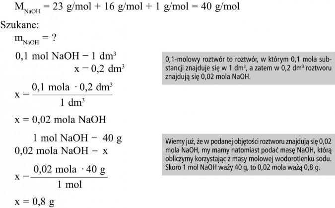 0,1-molowy roztwór to roztwór, w którym 0,1 mola substancji znajduje się w 1 dm3, a zatem w 0,2 dm3 roztworu znajdują się 0,02 mola NaOH. Wiemy już, że w podanej objętości roztworu znajdują się 0,02 mola NaOH, my mamy natomiast podać masę NaOH, którą obliczymy korzystając z masy molowej wodorotlenku sodu. Skoro 1 mol NaOH waży 40 g, to 0,02 mola ważą 0,8 g.