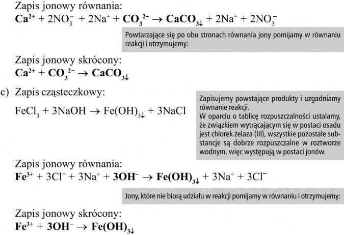 Powtarzające się po obu stronach równania jony pomijamy w równaniu reakcji i otrzymujemy... Zapisujemy powstające produkty i uzgadniamy równanie reakcji. W oparciu o tablicę rozpuszczalności ustalamy, że związkiem wytrącającym się w postaci osadu jest chlorek żelaza (III), wszystkie pozostałe substancje są dobrze rozpuszczalne w roztworze wodnym, więc występują w postaci jonów. Jony, które nie biorą udziału w reakcji pomijamy w równaniu i otrzymujemy...